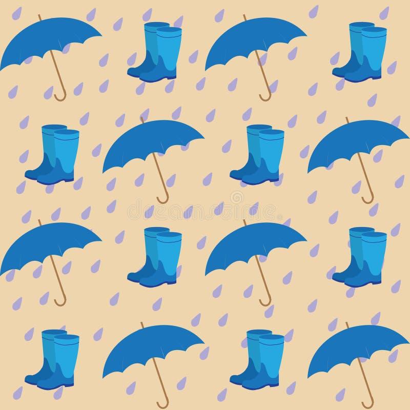 Den sömlösa modellen på bakgrunden av regnet tappar paraplyer stock illustrationer
