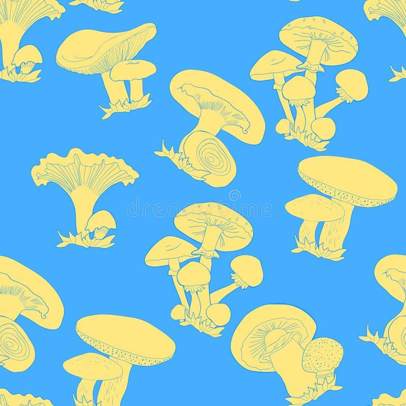 Den sömlösa modellen plocka svamp russulaen, kantarellen, champignonen, gr vektor illustrationer