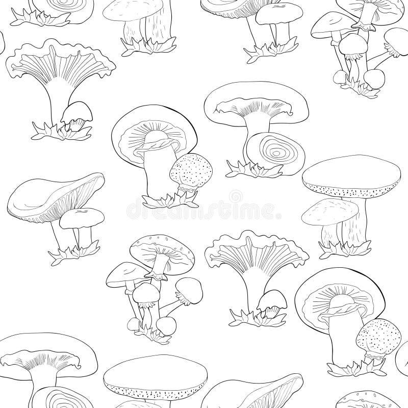 Den sömlösa modellen plocka svamp russulaen, kantarellen, champignonen, gr royaltyfri illustrationer