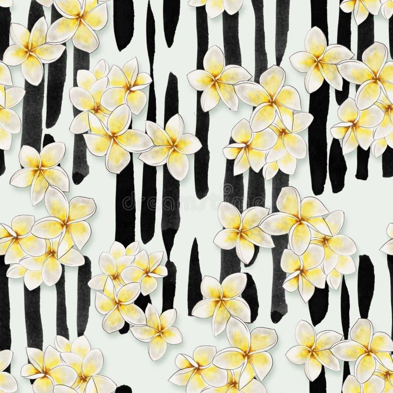 Den sömlösa modellen - räcka den utdragna vattenfärgen tropiska blommor på bakgrund för vertikala band royaltyfri illustrationer