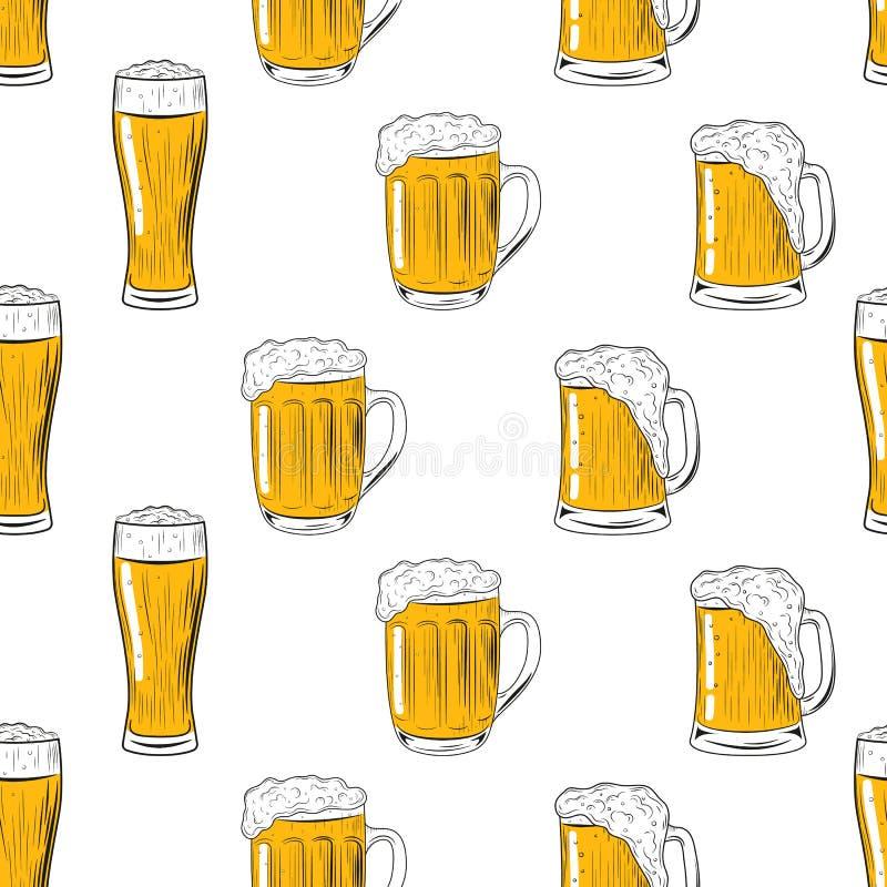 Den sömlösa modellen rånar och exponeringsglas av öl Handteckning för menyn, Oktoberfest festival, ölaffisch, stångkort vektor royaltyfri illustrationer
