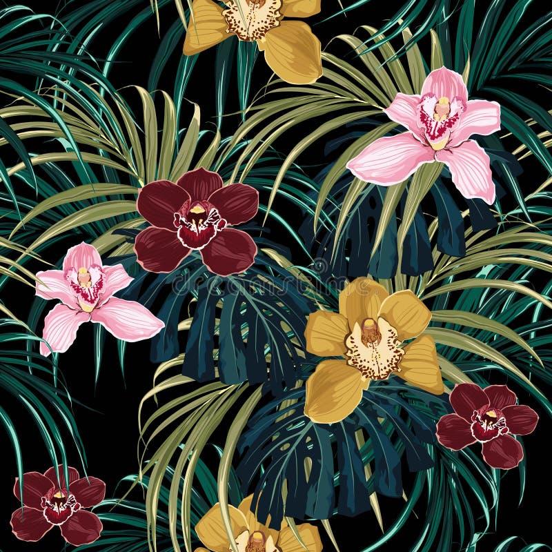 Den sömlösa modellen, den rosa blomman för burgundy gulingorkidé och grönt exotiskt gömma i handflatan gigantiska sidor royaltyfri illustrationer