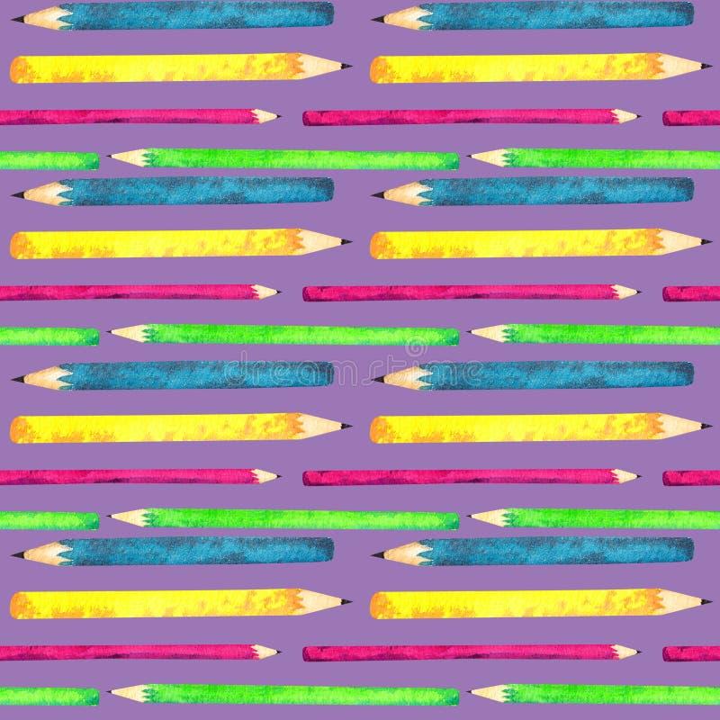 Den sömlösa modellen som gjordes av vattenfärg, målade skolatillbehör på purpurfärgad bakgrund vektor illustrationer