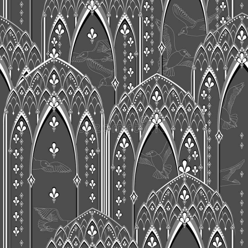 Den sömlösa modellprydnaden med den orientaliska fantasin pekade fönster och flygfåglar Snöra åt gardiner r stock illustrationer