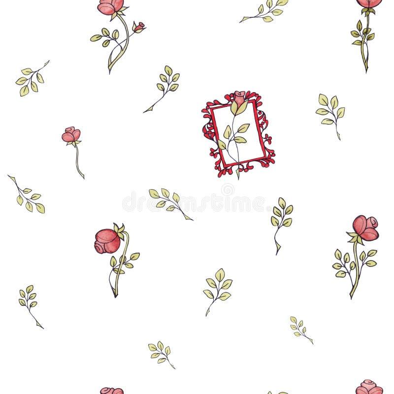 Den sömlösa modellvattenfärgen steg barocka blommor med bladet royaltyfri illustrationer