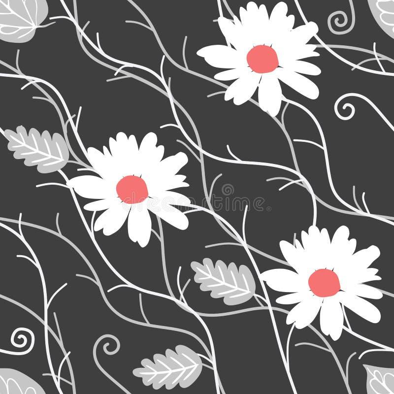 Den sömlösa naturliga modellen med blommor för den vita tusenskönan, försilvrar sidor och abstrakta filialer på svart bakgrund i  stock illustrationer