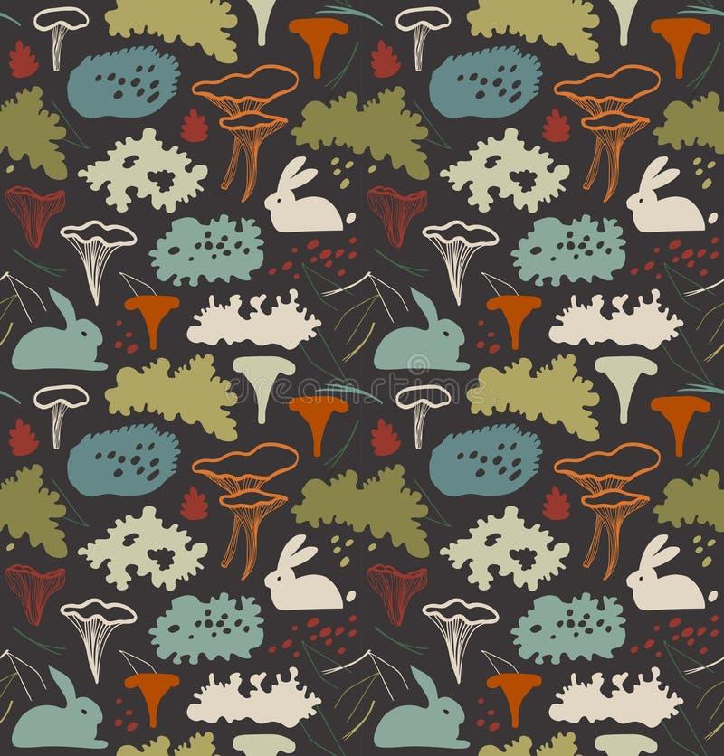 Den sömlösa nordiska naturliga modellen med kantarellen plocka svamp, renmossa, gråa laver, visare Blom- bakgrundstextur royaltyfri illustrationer