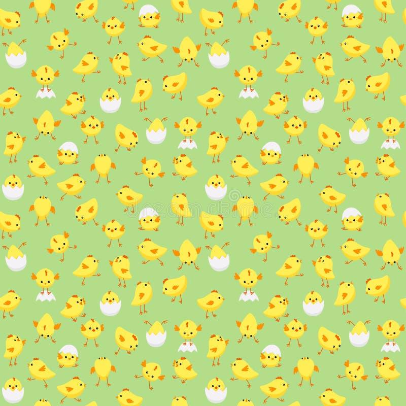 Den sömlösa påskmodellen med mycket små fågelungar i olikt poserar på pastellfärgad grön bakgrund stock illustrationer