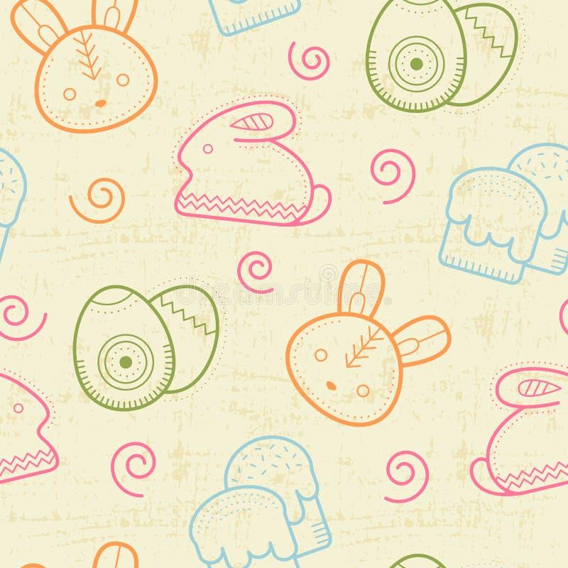Den sömlösa påskmodellen med skisserade påskkaniner, kulöra ägg och simnel bakar ihop vektor illustrationer