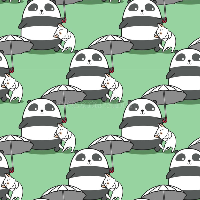 Den sömlösa pandan bär paraplyet med en kattmodell stock illustrationer