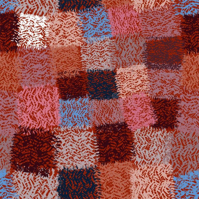Den sömlösa rutiga modellen med grunge gjorde randig latticed färgrika fyrkantiga beståndsdelar royaltyfri illustrationer