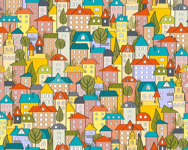 Den sömlösa stadsmodellen med tecknade filmen inhyser och tak vektor illustrationer