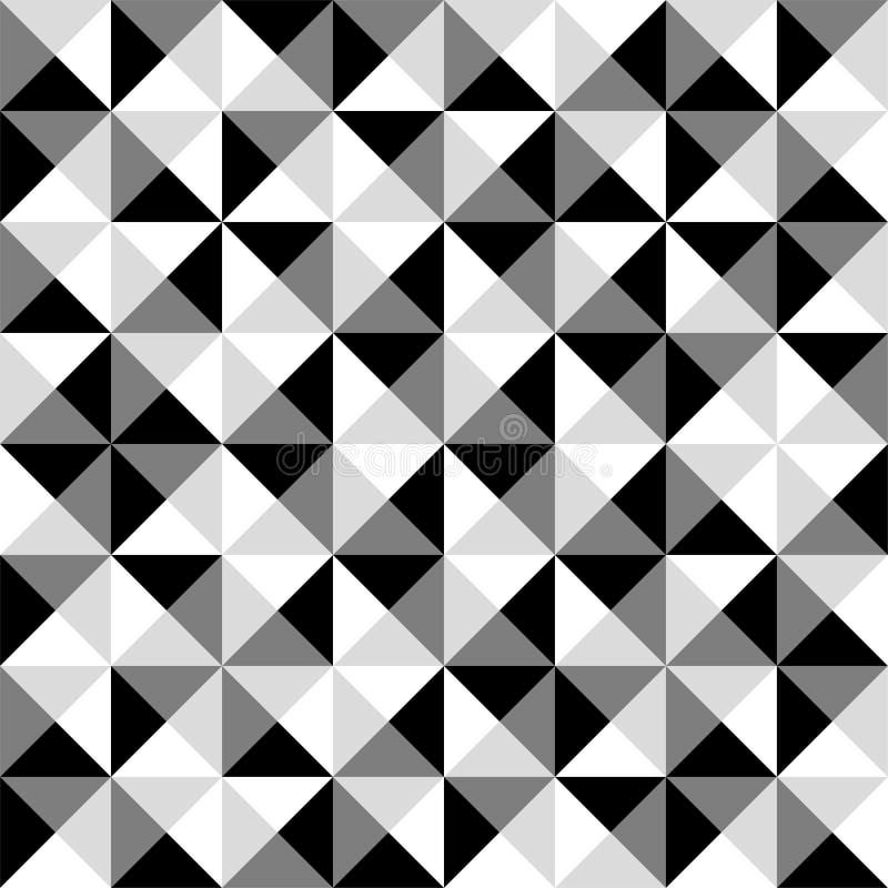 Den sömlösa svartvita tegelplattamodellen för pyramiden - räkna fyrkanterna vektor illustrationer