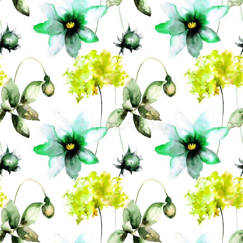 Den sömlösa tapeten med Gerber, vallmo och vanliga hortensian blommar royaltyfri illustrationer