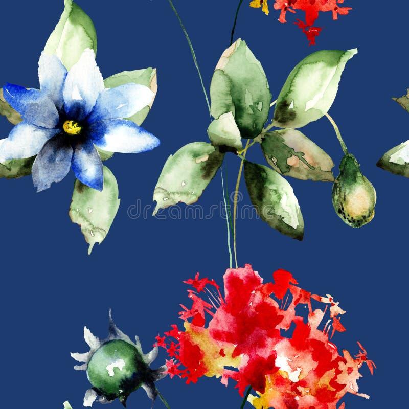 Den sömlösa tapeten med Gerber, vallmo och vanliga hortensian blommar vektor illustrationer