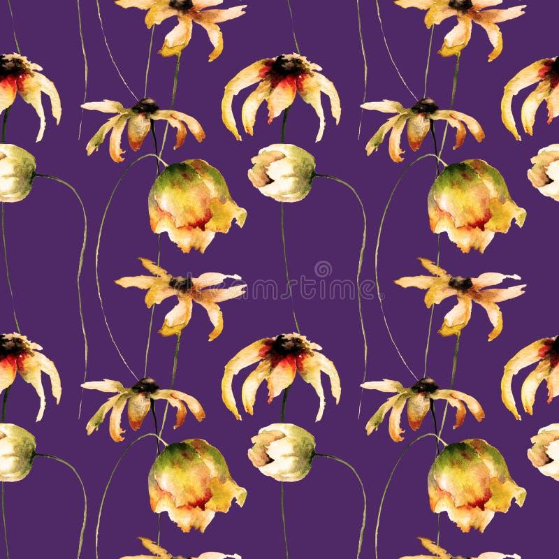 Den sömlösa tapeten med gula Gerber och tulpan blommar vektor illustrationer