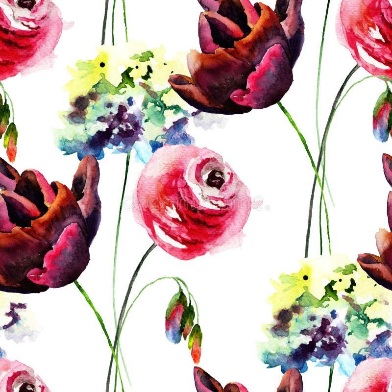 Den sömlösa tapeten med vanliga hortensian, tulpan och steg blommor royaltyfri illustrationer