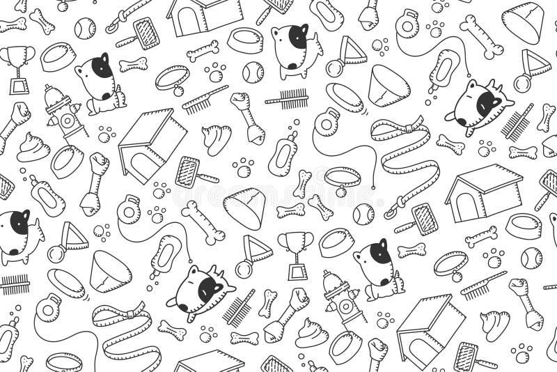 Den sömlösa teckningen för handen för ungar för för modellbakgrundshunden och utrustning ställde in illustrationen vektor illustrationer