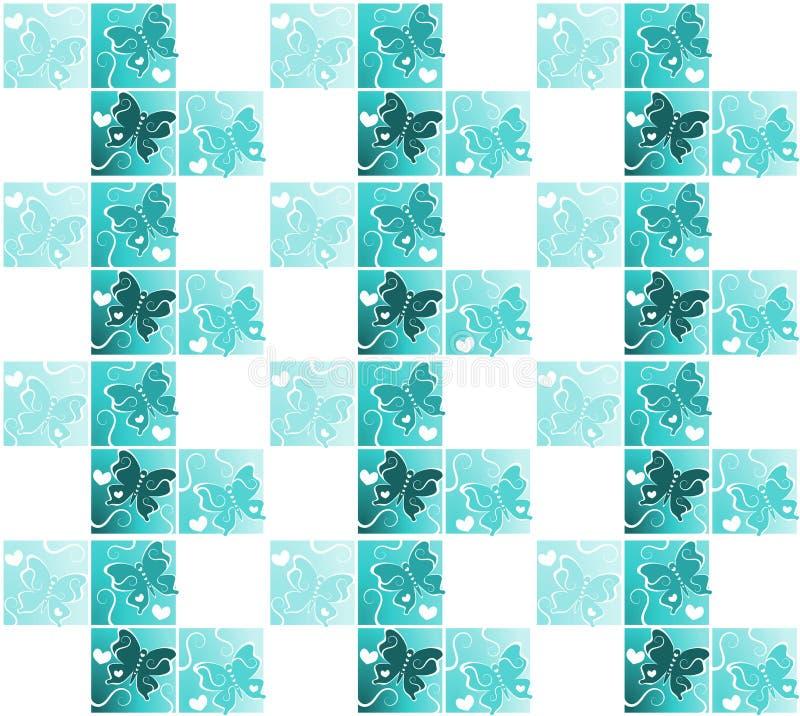 Den sömlösa tegelplattafjärilen påskyndar konturn vektor illustrationer