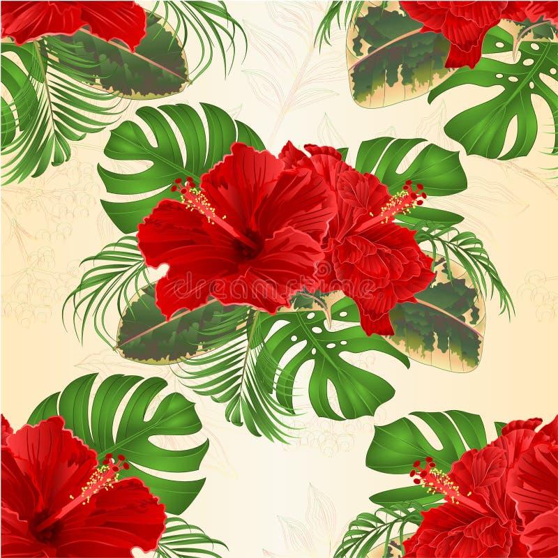 Den sömlösa texturbuketten med blom- ordning för tropisk stil för blommor hawaiansk, med den härliga hibiskusen, gömma i handflat royaltyfri illustrationer