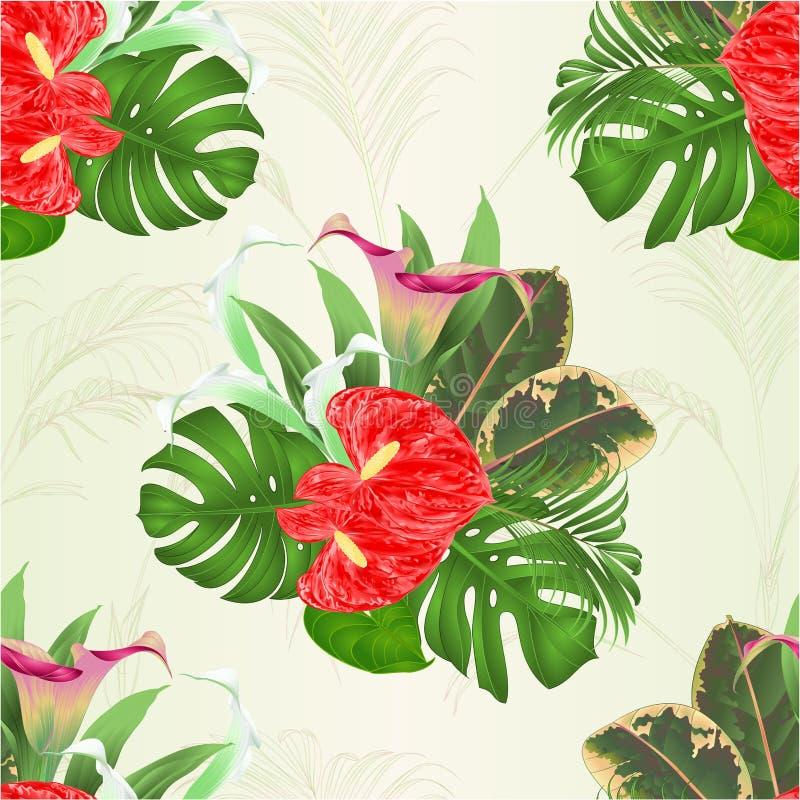 Den sömlösa texturbuketten med blom- ordning för tropiska blommor, med härliga liljor Cala och anthuriumen, gömma i handflatan, p royaltyfri illustrationer