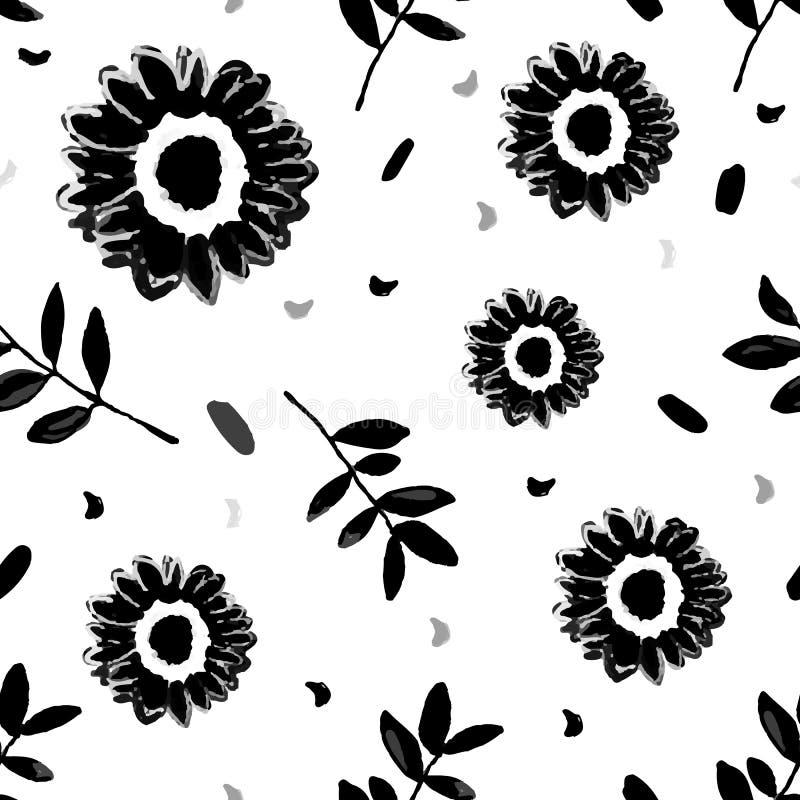 Den sömlösa upprepande modellen med handen målade svarta blommablomningar på vit bakgrund Hand tecknad vektorillustration vektor illustrationer