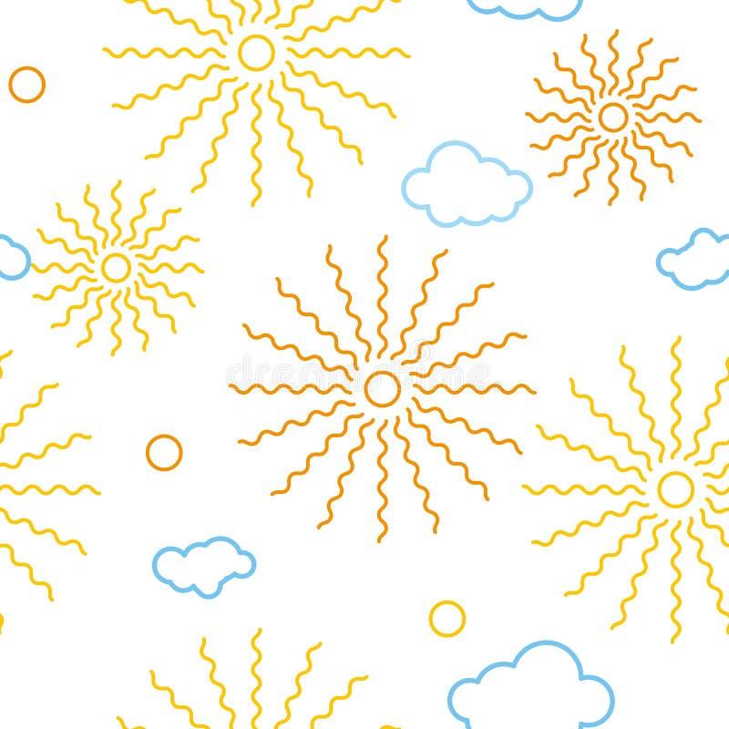 Den sömlösa upprepande solen för modellen för illustrationbarn` s fördunklar royaltyfri illustrationer