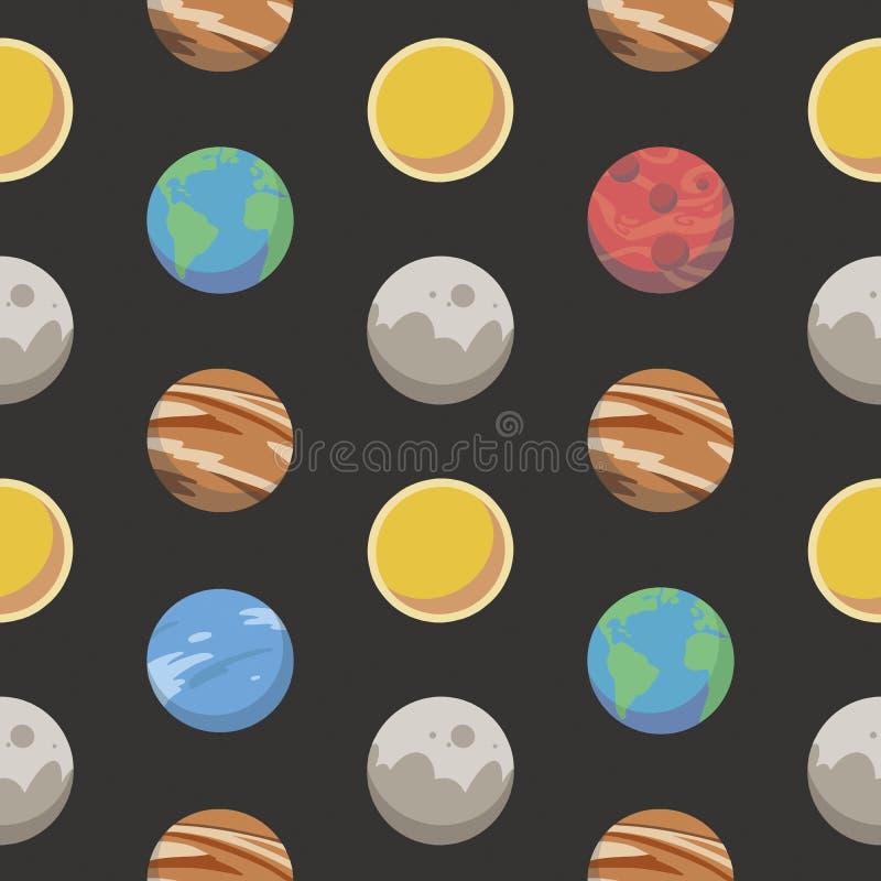 Den sömlösa utrymmemodellen med olika färgrika tecknad filmstilplaneter inklusive jord, fördärvar, jupiter och solen på svart BG stock illustrationer