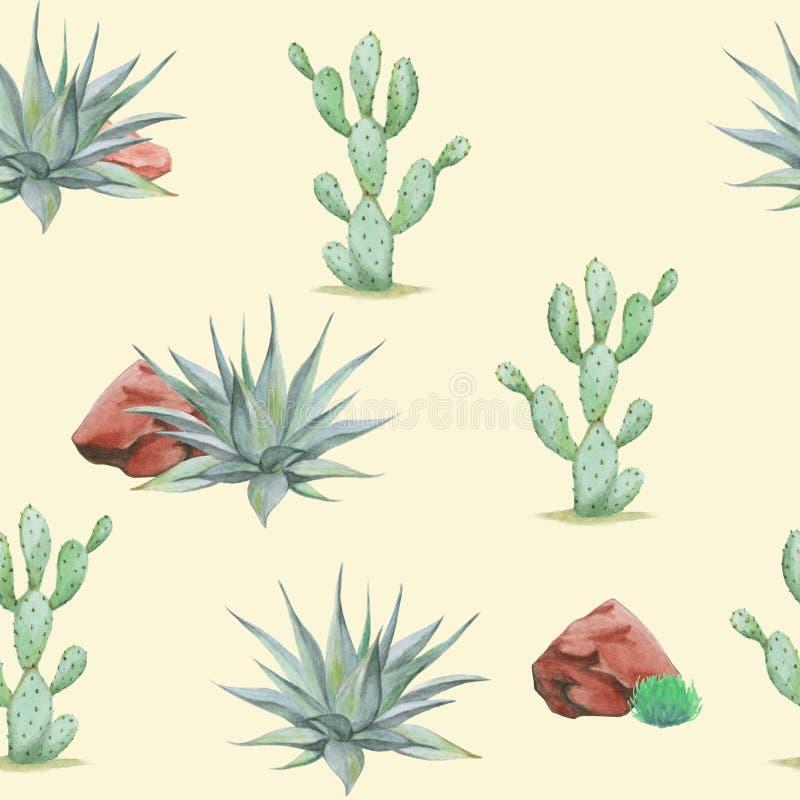 Den sömlösa vattenfärgökenmodellen med kaktusagave, vaggar, gräs, busken arkivbild