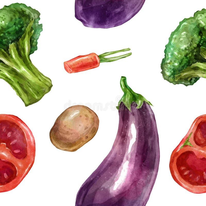 Den sömlösa vattenfärgen, modellgrönsaker ställde in med auberginebroccolitomater stock illustrationer