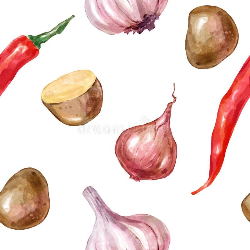 Den sömlösa vattenfärgen, modellgrönsaker ställde in med peppar för vitlökpotatislöken stock illustrationer