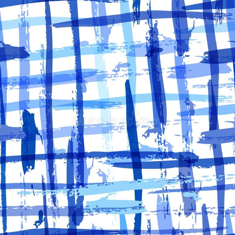 Den sömlösa vattenfärgen satte en klocka på plädmodellen med blåa band vektor royaltyfri illustrationer