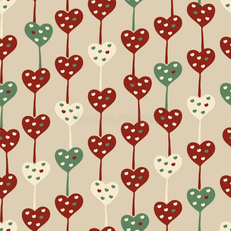 Den sömlösa vektormodellen med hjärta formade lillipops i retro färger stock illustrationer