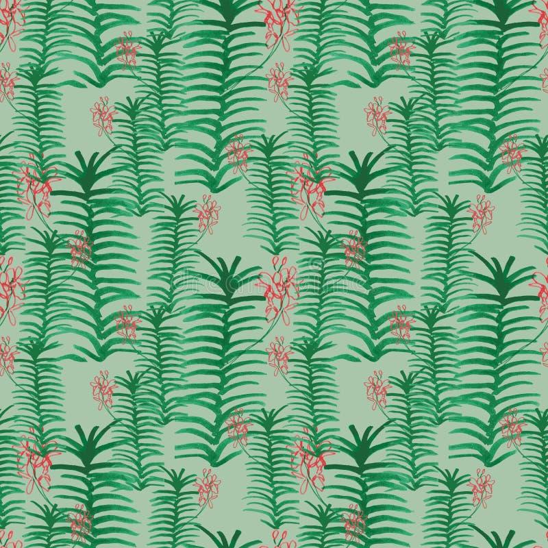 Den sömlösa vektormodellen med den tropiska handen skissar orkidésidor och blommor i gräsplaner och rosa färger royaltyfri illustrationer