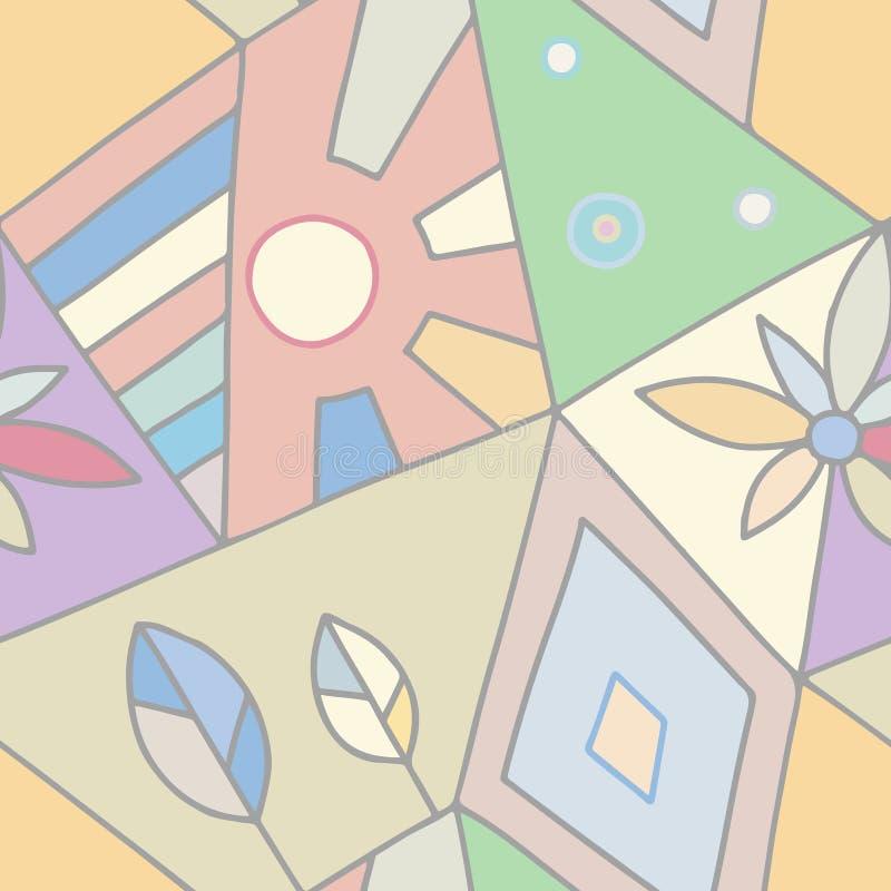 Den sömlösa vektormodellen, pastellfärgade rosa färger fodrade assymetrisk geometrisk bakgrund med blomman, bladet, sol Tryck för royaltyfri illustrationer