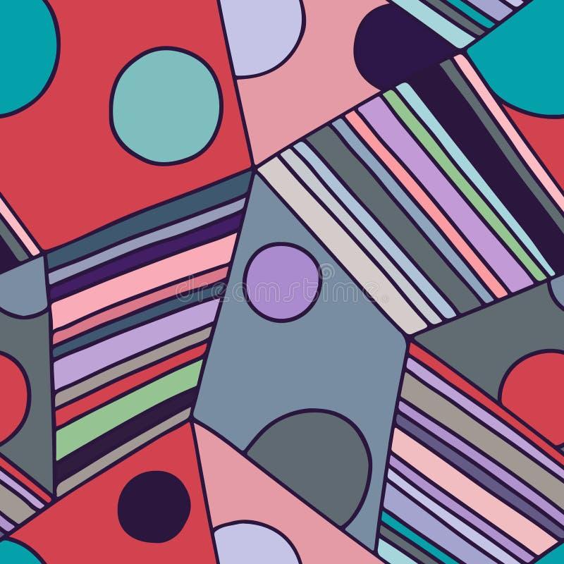 Den sömlösa vektormodellen som var röd fodrade assymetrisk geometrisk bakgrund med romben, trianglar Tryck för dekoren, tapet som vektor illustrationer
