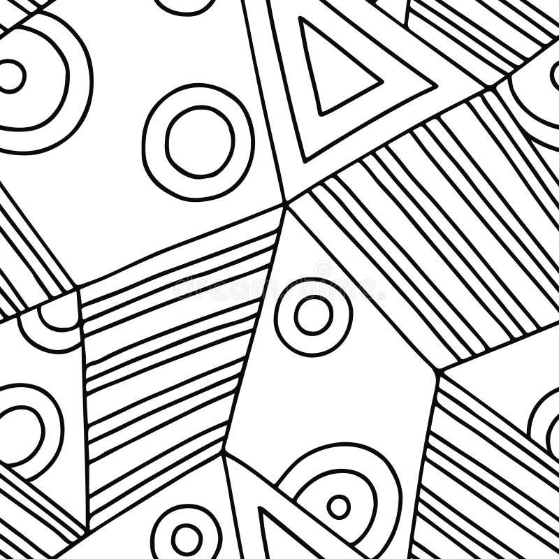 Den sömlösa vektormodellen som var svartvit fodrade assymetrisk geometrisk bakgrund med romben, trianglar Tryck för dekoren, tape royaltyfri illustrationer