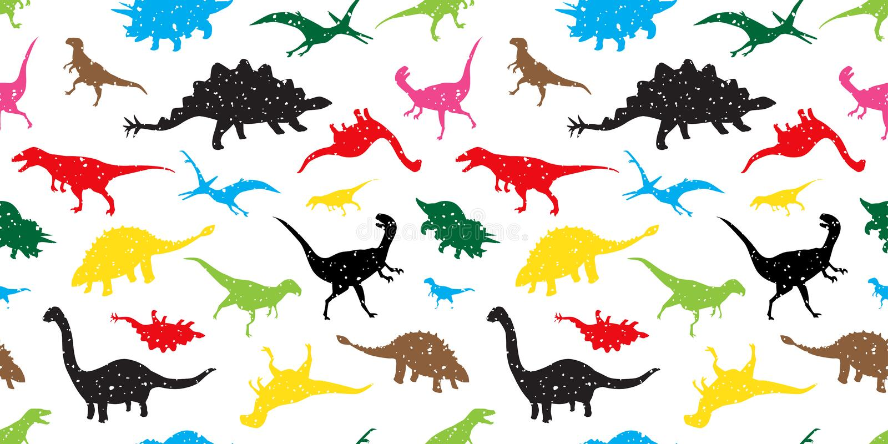 Den sömlösa vektorn för den modelldino dinosaurien isolerade färgrik tapetbakgrund vektor illustrationer