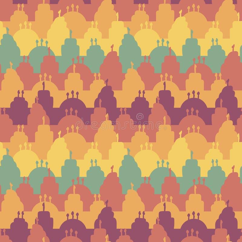 Den sömlösa vektorn gör randig modellen med färgrika födelsedagkakor vektor illustrationer