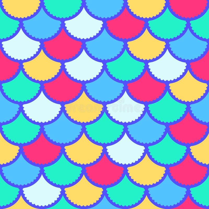 Den sömlösa vektorsjöjungfrumodellen som magisk bakgrund för fiskskalan för textilen, affischer, hälsningkort, cases etc. royaltyfri illustrationer