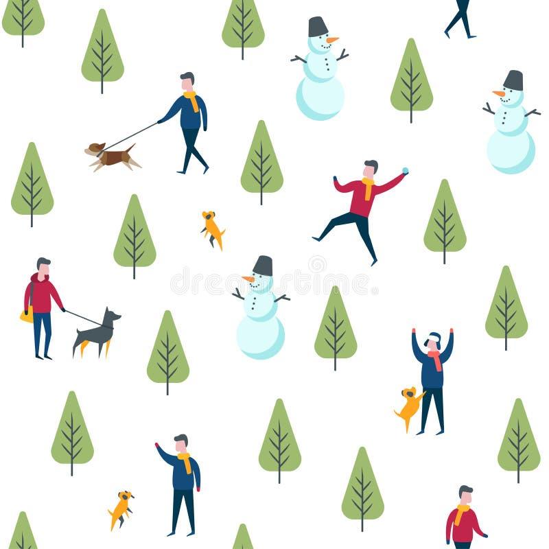Den sömlösa vintern parkerar modellen Vektorhund som går folk royaltyfri illustrationer