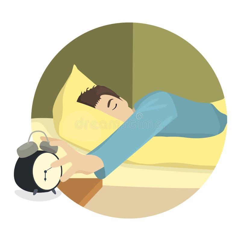 Den sömniga mannen vänder av väckarklockan stock illustrationer