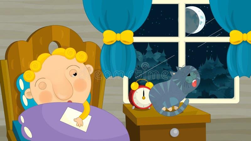 Den sömniga tecknade filmen vaknar upp på grund av katten royaltyfri illustrationer