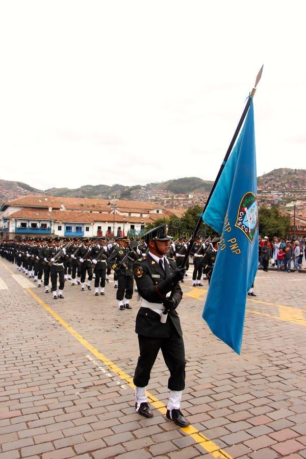Den söndag marschen ståtar Arequipa royaltyfri fotografi
