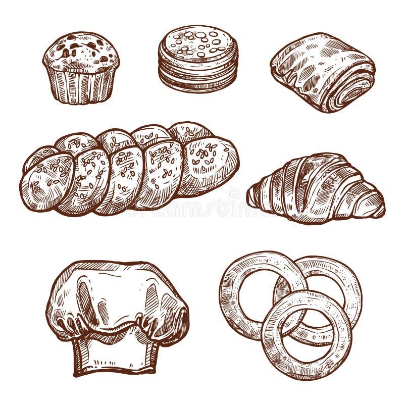 Den söta brödbullen skissar av bagerit, bakelseprodukt vektor illustrationer