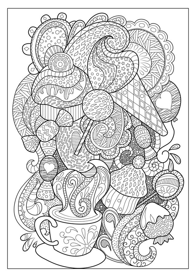 Den söta efterrätten och kaffe skisserade illustrationen för att färga stock illustrationer