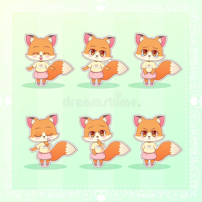 Den söta flickan för räven för tecknade filmen för Kitty Little gulliga kawaiianime i för sinnesrörelsemaskot för klänningen den  vektor illustrationer
