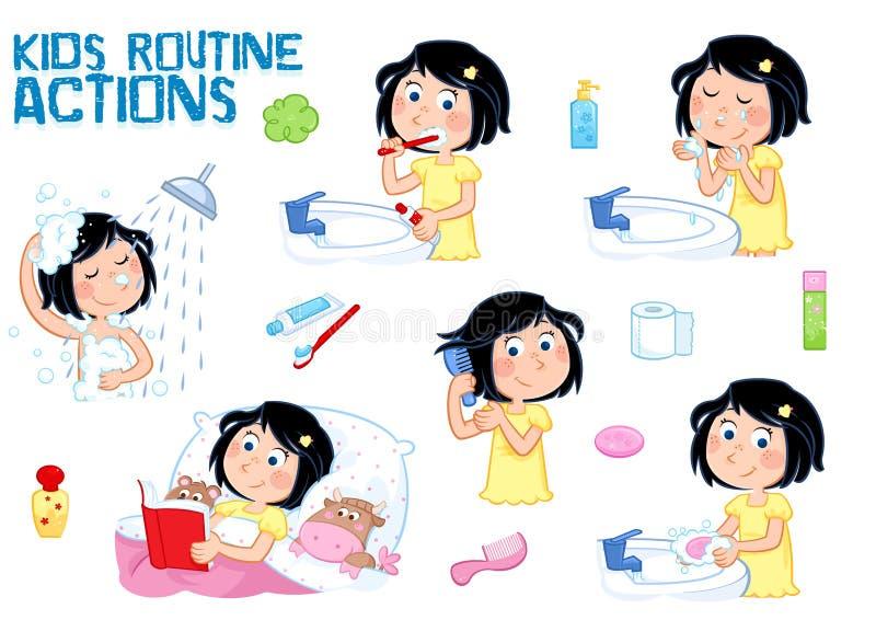 Den söta lilla flickan med mörkt hår och fräknen vänder mot - den dagliga rutinen - vit bakgrund vektor illustrationer