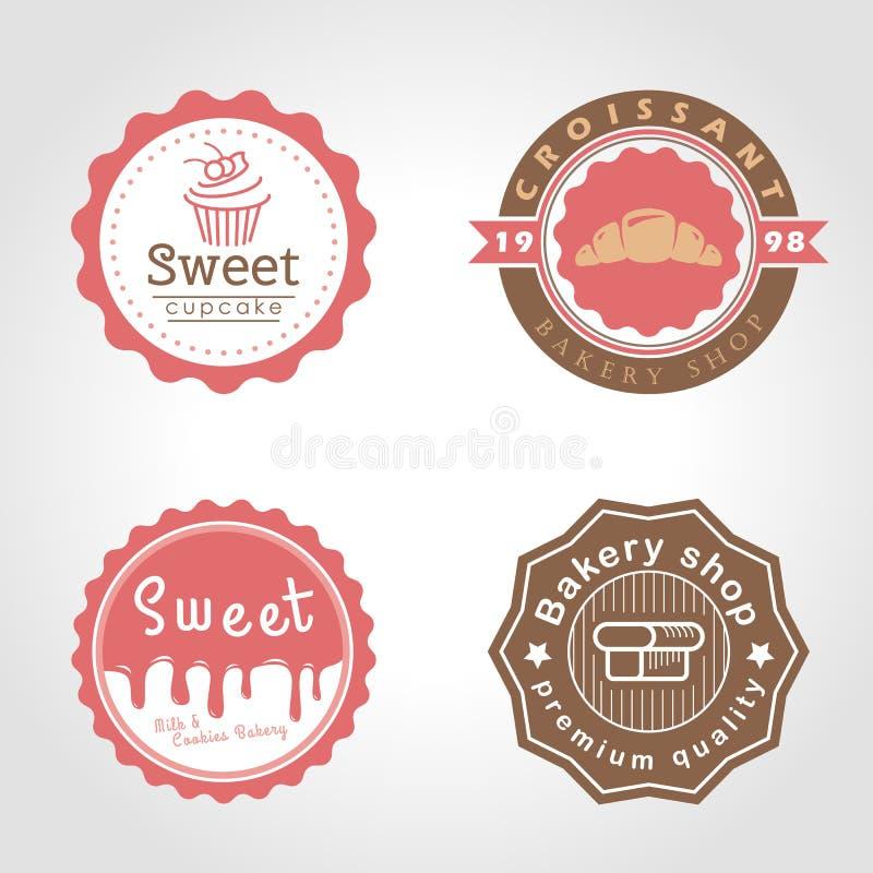 Den söta muffin och bagerit och mjölkar shoppar design för illustration för cirkellogovektor stock illustrationer