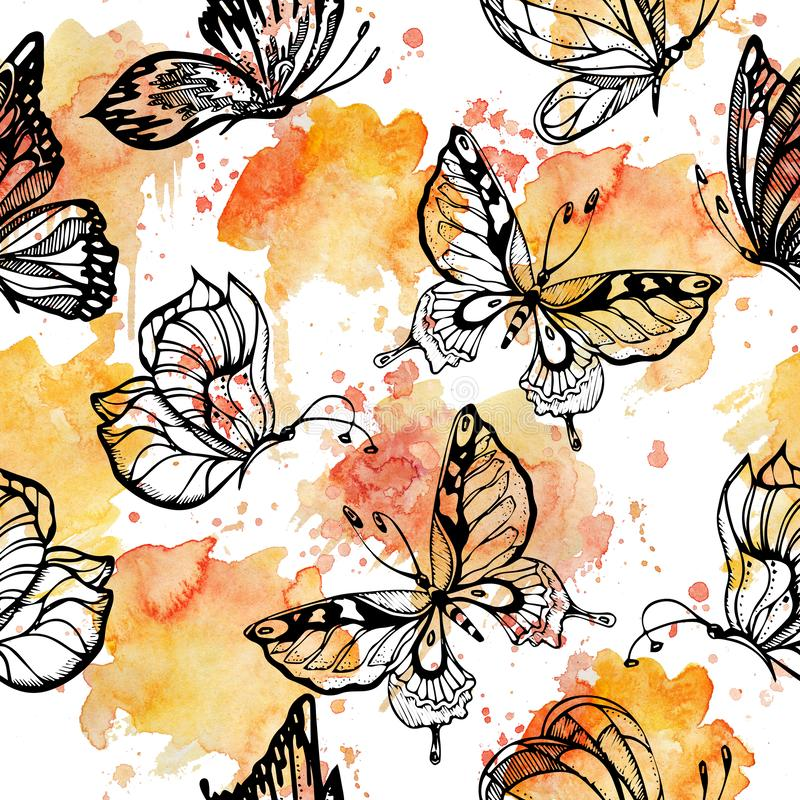 Den söta signalen av fjärilsflyget på vattenfärg plaskar den sömlösa modellen spridd repetition royaltyfri illustrationer